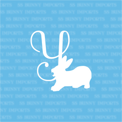Y is for yawning bunny; monogram decal