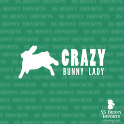 Crazy binky bunny lady decal, full text