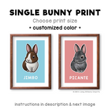 Single bunny print - customized color