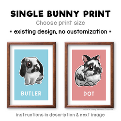 Single bunny print - existing rabbit design, custom name