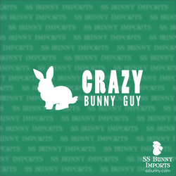 Crazy bunny guy decal, full text