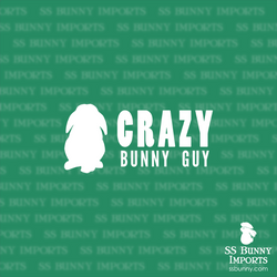 Crazy lop bunny guy decal, full text