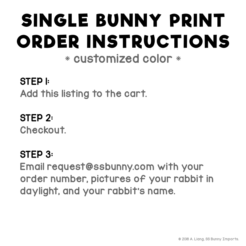 Single lop rabbit print - customized color - SS Bunny Imports