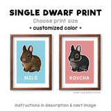Single dwarf rabbit print - customized color