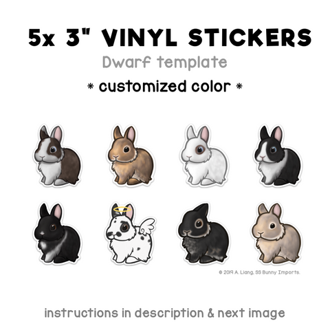 Custom 5x dwarf rabbit vinyl stickers