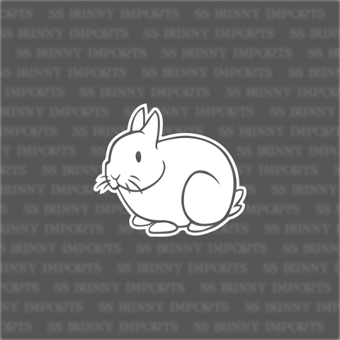 Stick figure dwarf rabbit decal, inverse