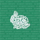 Dwarf rabbit word cloud decal