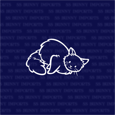 Rolling fluffy cat decal