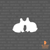 Kissing dwarf bunnies silhouette decal