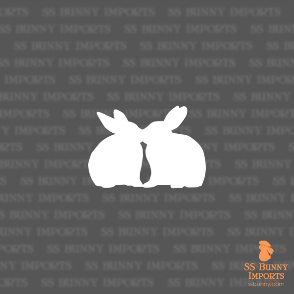 Kissing bunnies silhouette decal