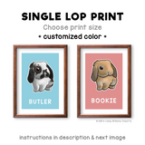 Single lop rabbit print - customized color