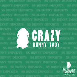 Crazy lop bunny lady decal, full text