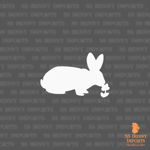 Outside bunny sniffing flower silhouette decal