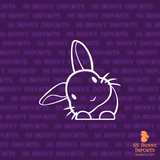 Peeking head tilt rabbit decal
