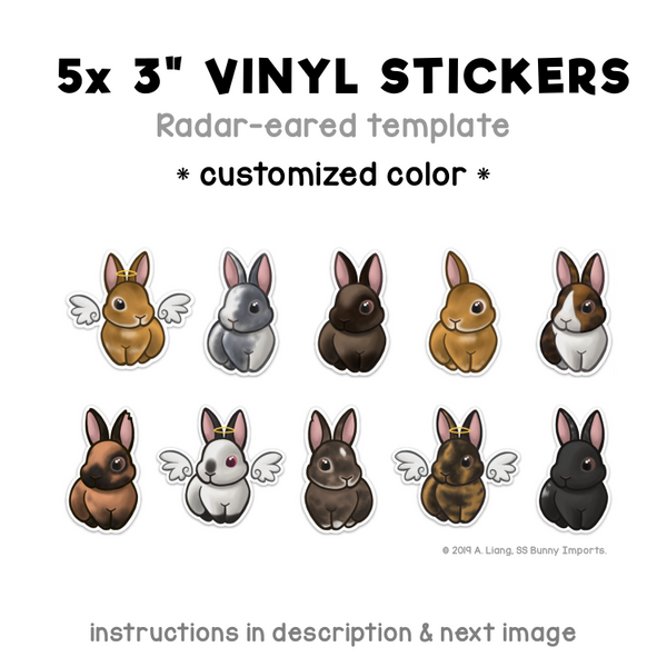Custom 5x radar-eared rabbit vinyl stickers