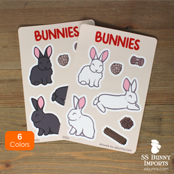 Radar-eared bunnies sticker sheet - large variety