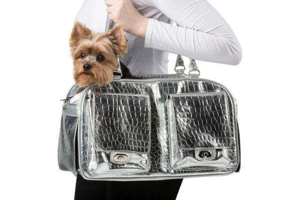 A Luxury Dog Carrier Sparkles in Precious Metal Colors