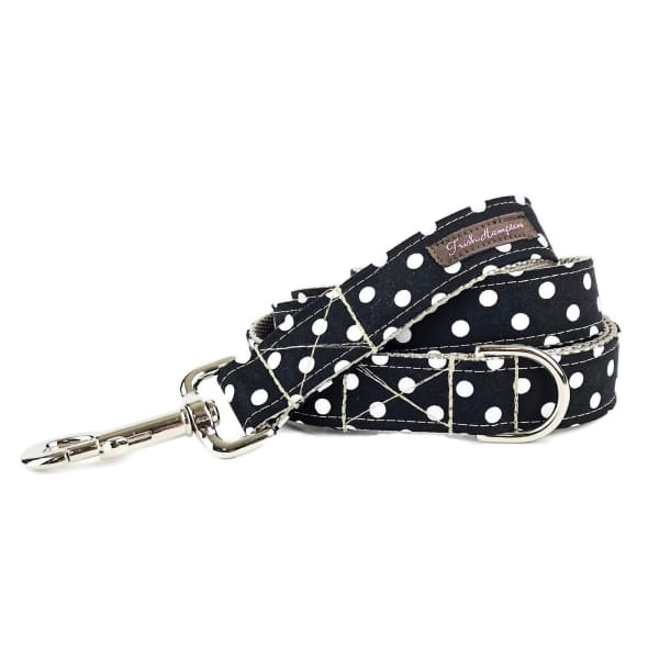 Black and White Candied Dots Dog Collar - Ribbon Dog Collars - 2