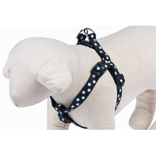 Black/White Candied Dots Ribbon Dog Harness - Ribbon Dog Harness - 2