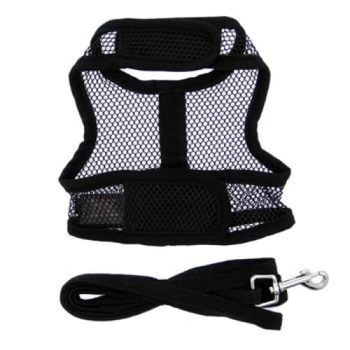 Black Cool Mesh Dog Harness with Matching Leash - Soft Dog Harnesses - 3