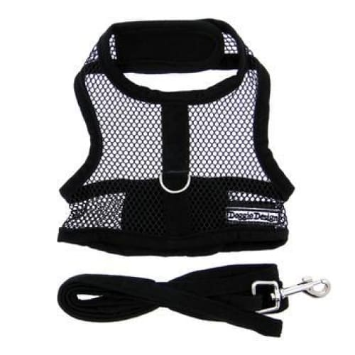 Black Cool Mesh Dog Harness with Matching Leash - Soft Dog Harnesses - 2