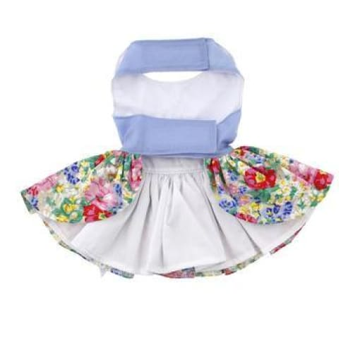 Blue and White Pastel Pearls Floral Dog Dress with Matching Leash - Dog Dresses - 3