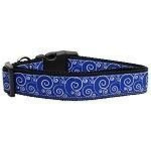 Blue and White Swirly Nylon Dog Collar - Ribbon Dog Collars - 1