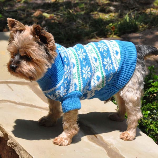 Blue Combed Cotton Snowflake and Hearts Dog Sweater - Luxury & Designer Dog Sweaters - 2
