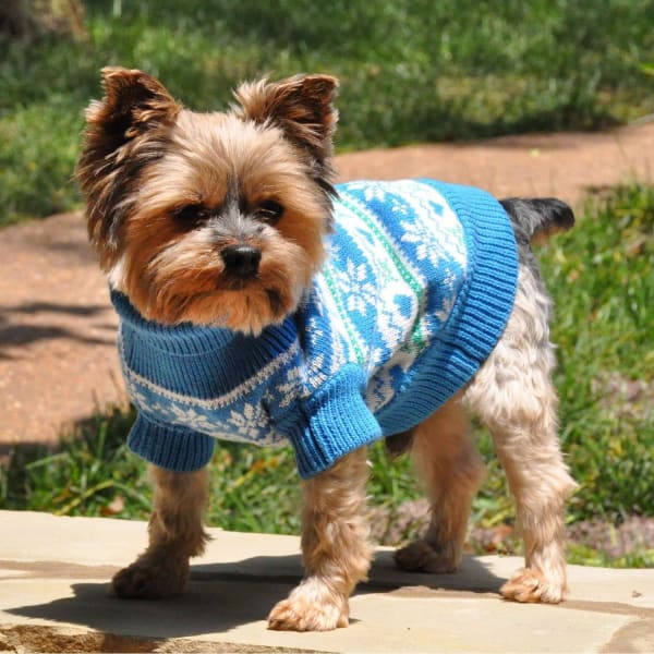 Blue Combed Cotton Snowflake and Hearts Dog Sweater - Luxury & Designer Dog Sweaters - 1