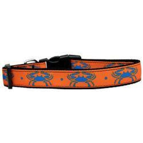 Blue Crabs Nylon Dog Collar - Ribbon Dog Collars - 1