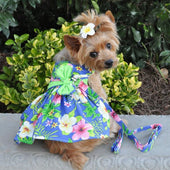 Blue Lagoon Hawaiian Hibiscus Dog Dress with Matching Leash - Dog Dresses - 1