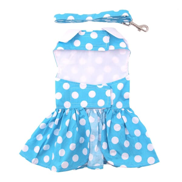 Blue Polka Dot Dog Dress with Matching Leash - Dog Dresses - 3