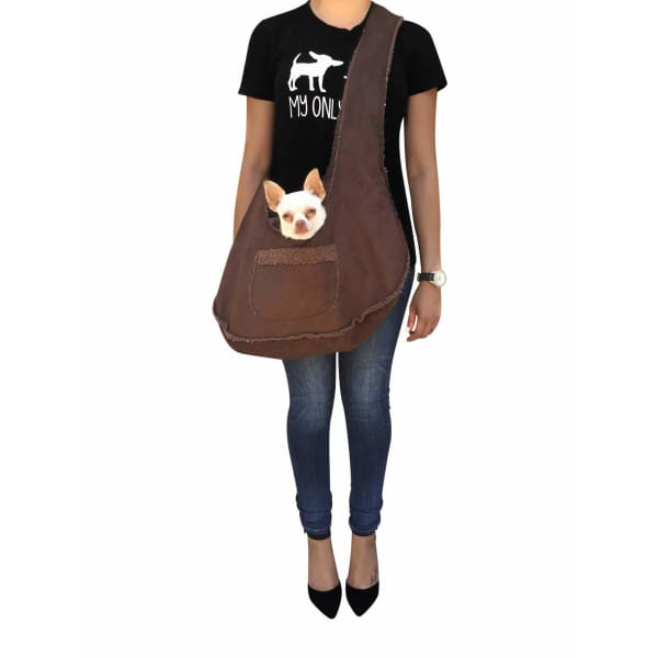 Boho Sling Bag for Dogs Chocolate - Dog Purse Carriers - 1