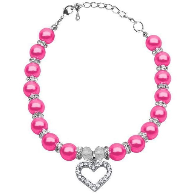Bright Pink Pearl Dog Necklace - 1