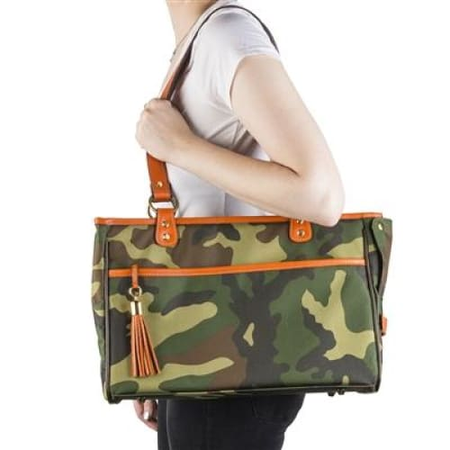 Camouflage Tote - Orange Leather Trim for Dogs by Petote - Dog Purse Carriers - 3
