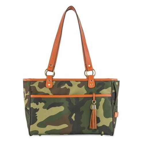 Camouflage Tote - Orange Leather Trim for Dogs by Petote - Dog Purse Carriers - 1
