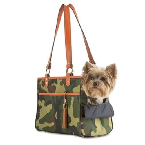 Camouflage Tote - Orange Leather Trim for Dogs by Petote - Dog Purse Carriers - 2