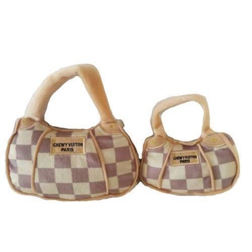 Checker Chewy Vuiton Purse Dog Toy - 1