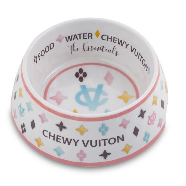 Chewy Vuiton Designer Dog Bowl in White - Dog Bowls - 1