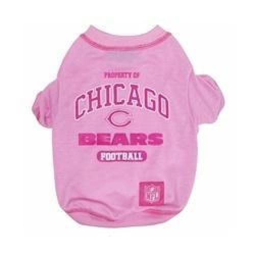 Chicago Bears Pink Dog Tee Shirt - NFL Dog Tee Shirts - 1