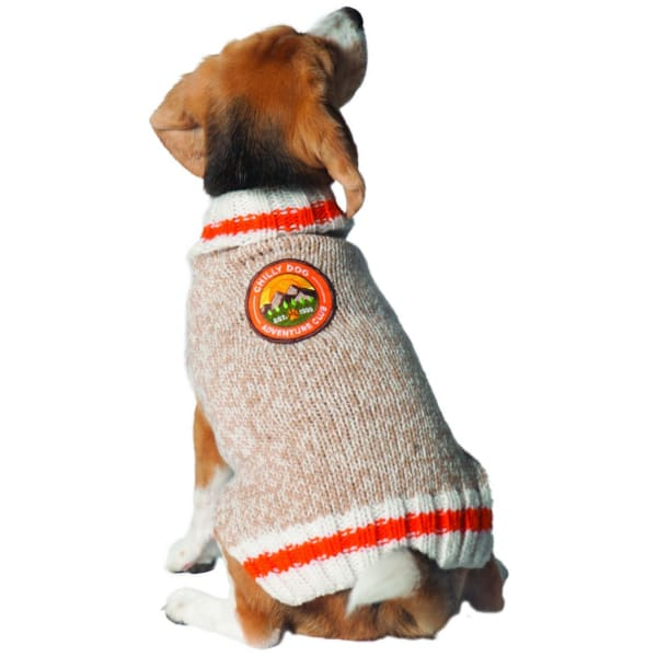 Chilly Dog Adventure Club Patch Sweater - Knit Dog Sweaters - 1