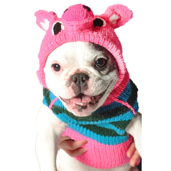 Chilly Dog Pink Piggy Hoodie Sweater - Knit Dog Sweaters - 2