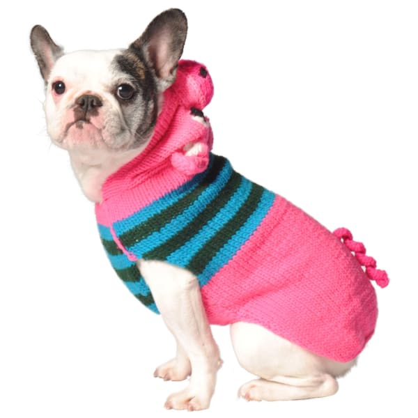 Chilly Dog Pink Piggy Hoodie Sweater - Knit Dog Sweaters - 1