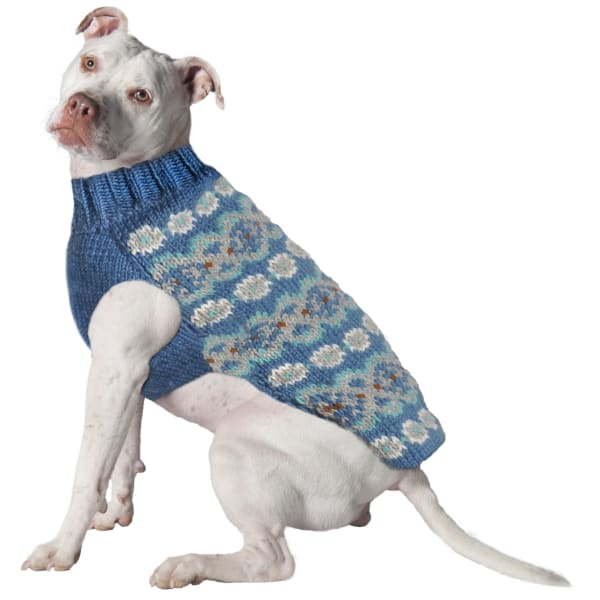 Chilly Dog Teal Alpaca Fairisle Dog Sweater - 1