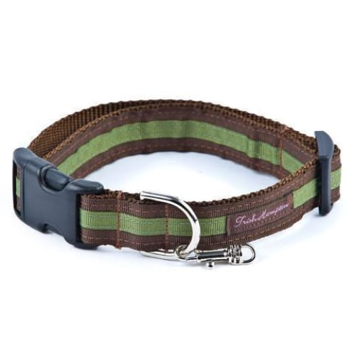 Double Ribbon Stripe Collection Dog Collar Chocolate/Green - Ribbon Dog Collars - 1
