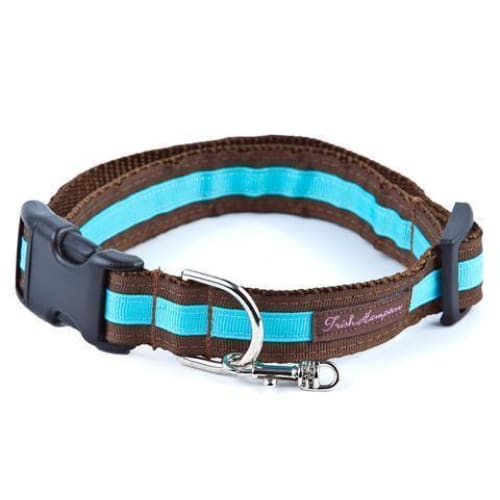 Double Ribbon Stripe Collection Dog Collar Chocolate/Turquoise - Ribbon Dog Collars - 1