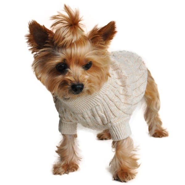 Combed Cotton Cable Knit Dog Sweater - Oatmeal - Luxury & Designer Dog Sweaters - 2