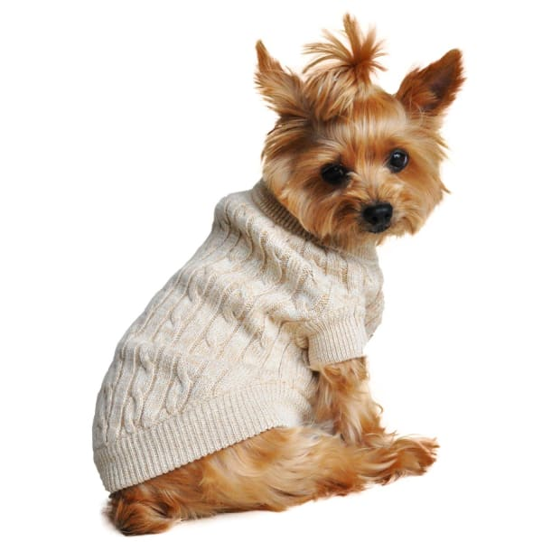 Combed Cotton Cable Knit Dog Sweater - Oatmeal - Luxury & Designer Dog Sweaters - 1