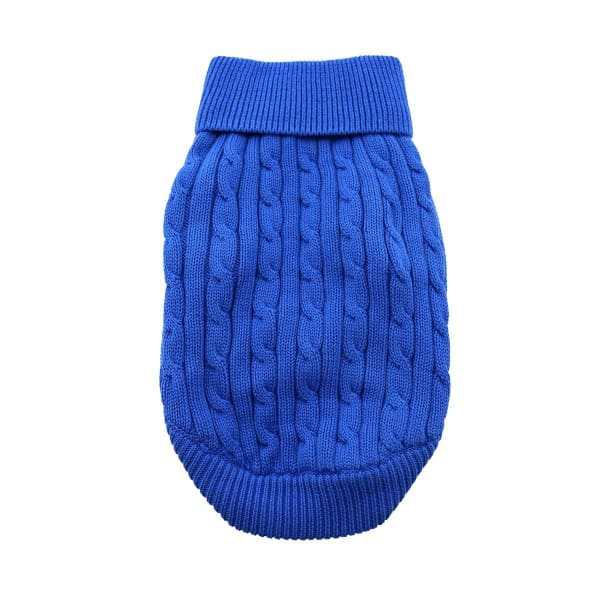 Combed Cotton Cable Knit Dog Sweater - Riverside Blue - Luxury & Designer Dog Sweaters - 3