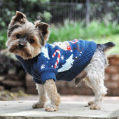 Combed Cotton Ugly Reindeer Holiday Dog Sweater - 1